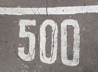 Number 500, five hundred, painted on asp