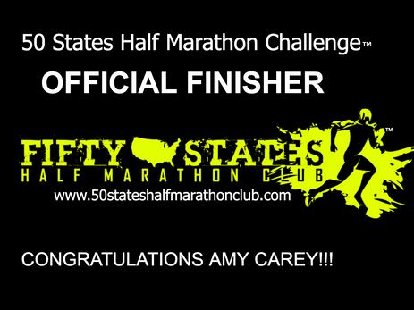 Amy Carey (Mason, Ohio) 50 States Half Marathon Challenge Finisher