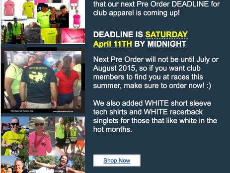 Next 50 States Half Marathon Club Apparel Pre Order Deadline - April 11th, 2015
