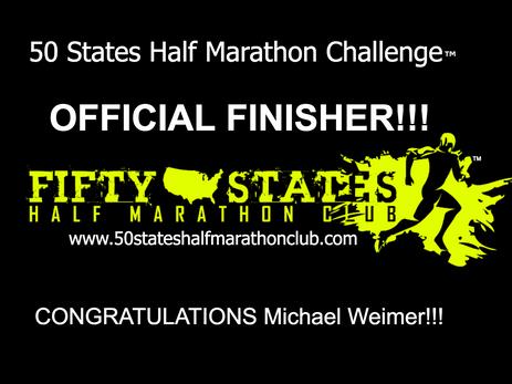 Michael Weimer (Modesto, California) - 50 States Half Marathon Challenge Finisher