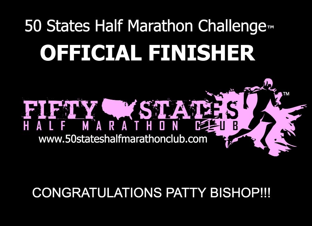 Patty Bishop 50 States Half Marathon Challenge Finisher
