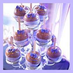 Purple Flowers Caramel Apples