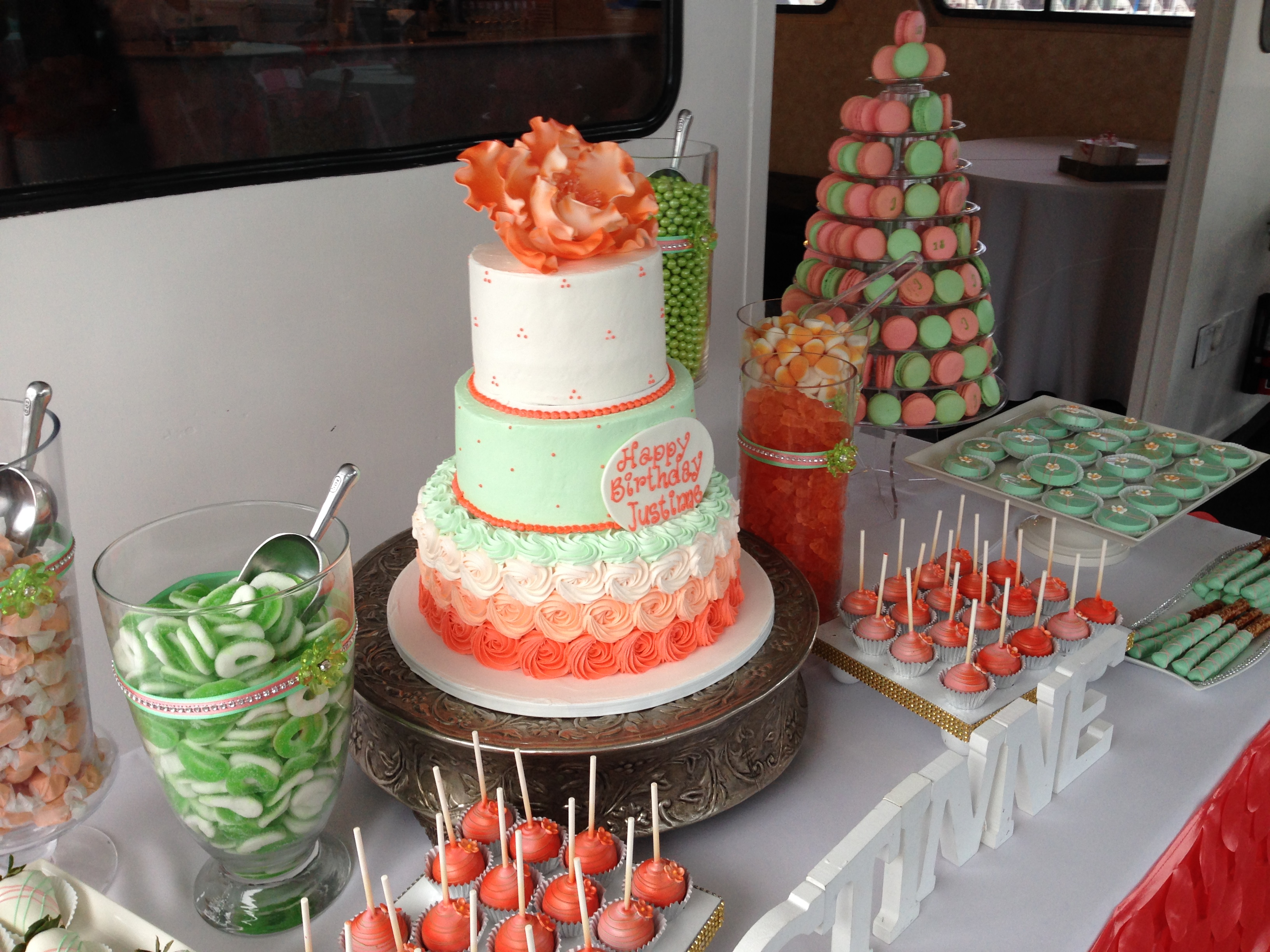 Mint and Coral Dessert Table