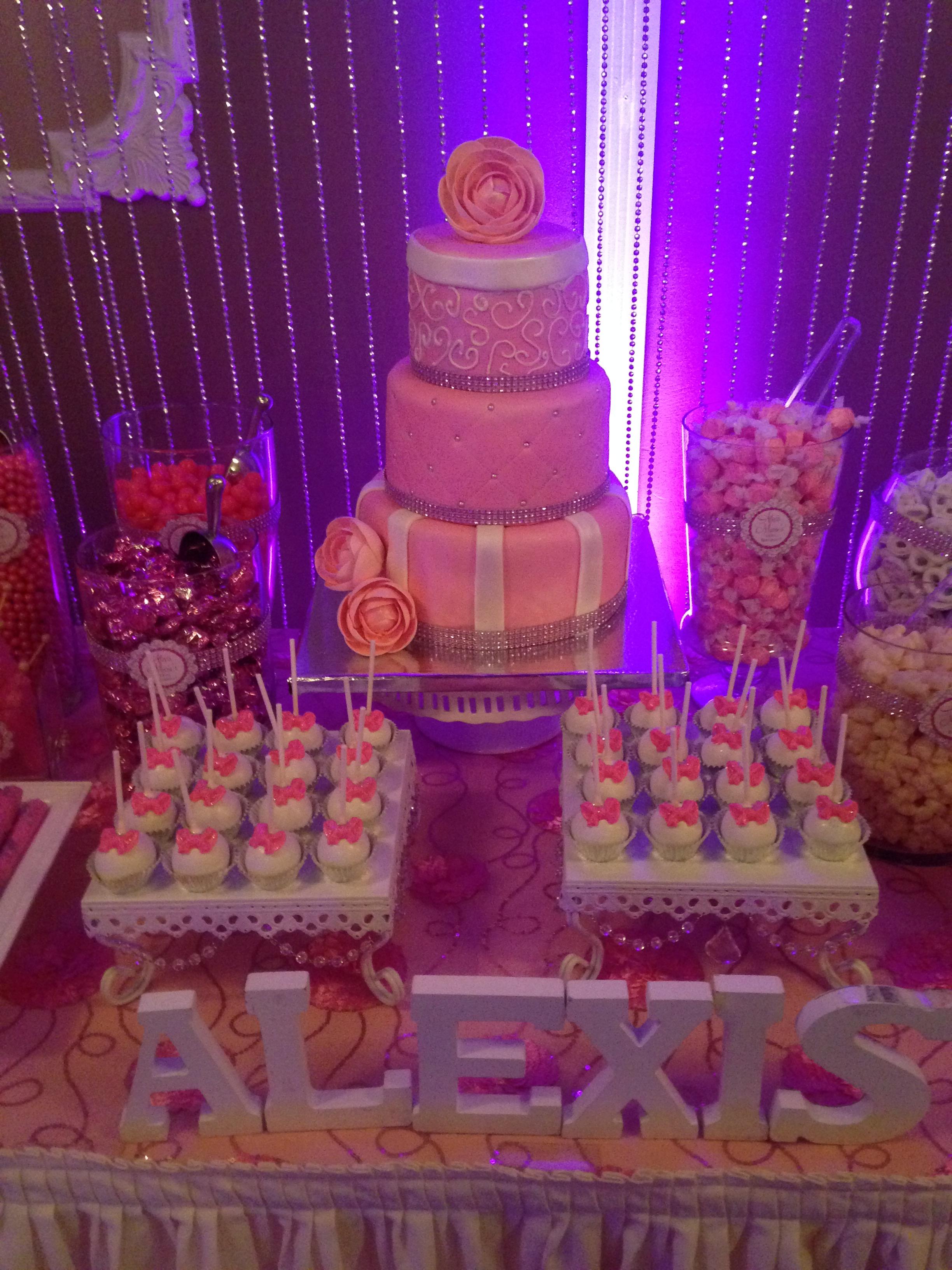 Pink Flower Theme Cake