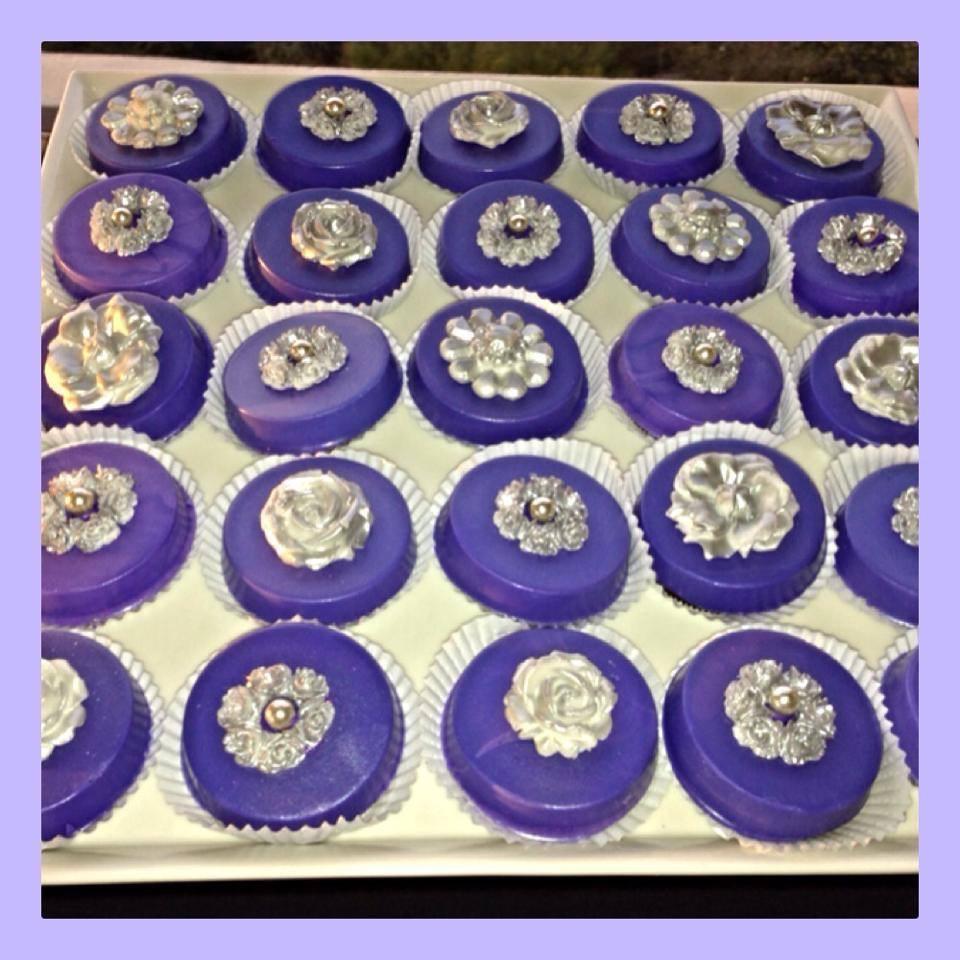 Purple Flowers Choco Covered Oreos