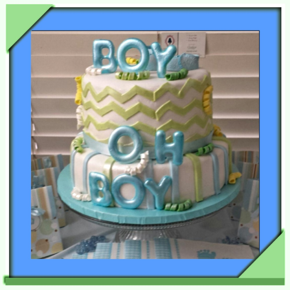 Boy Oh Boy Chevron Theme Cake