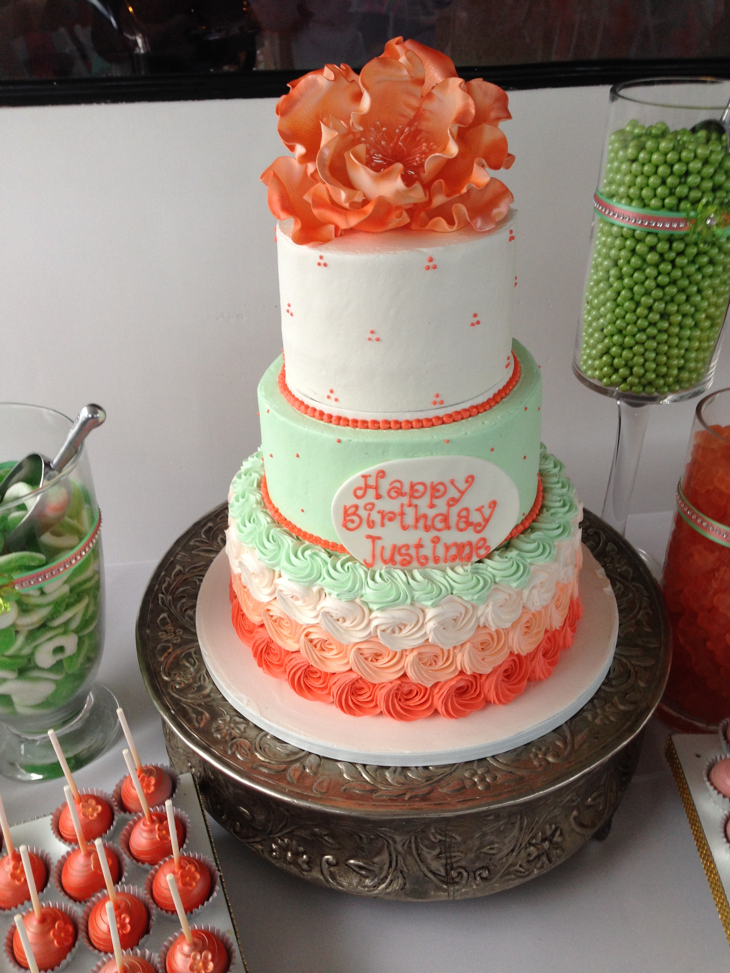 Mint and Coral Cake