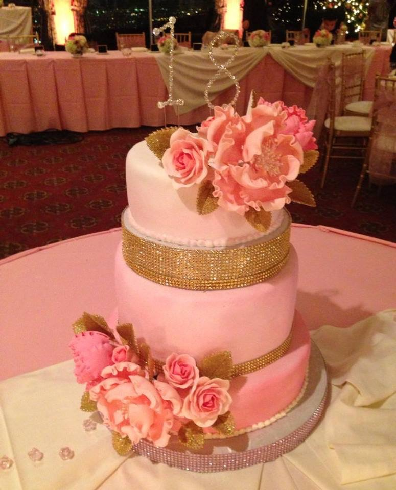 Blush and Gold Theme Cake