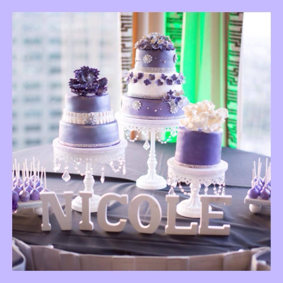 Purple Flowers Theme Trio Cake