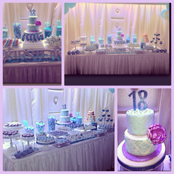 Blue and Orchid Theme Dessert Table