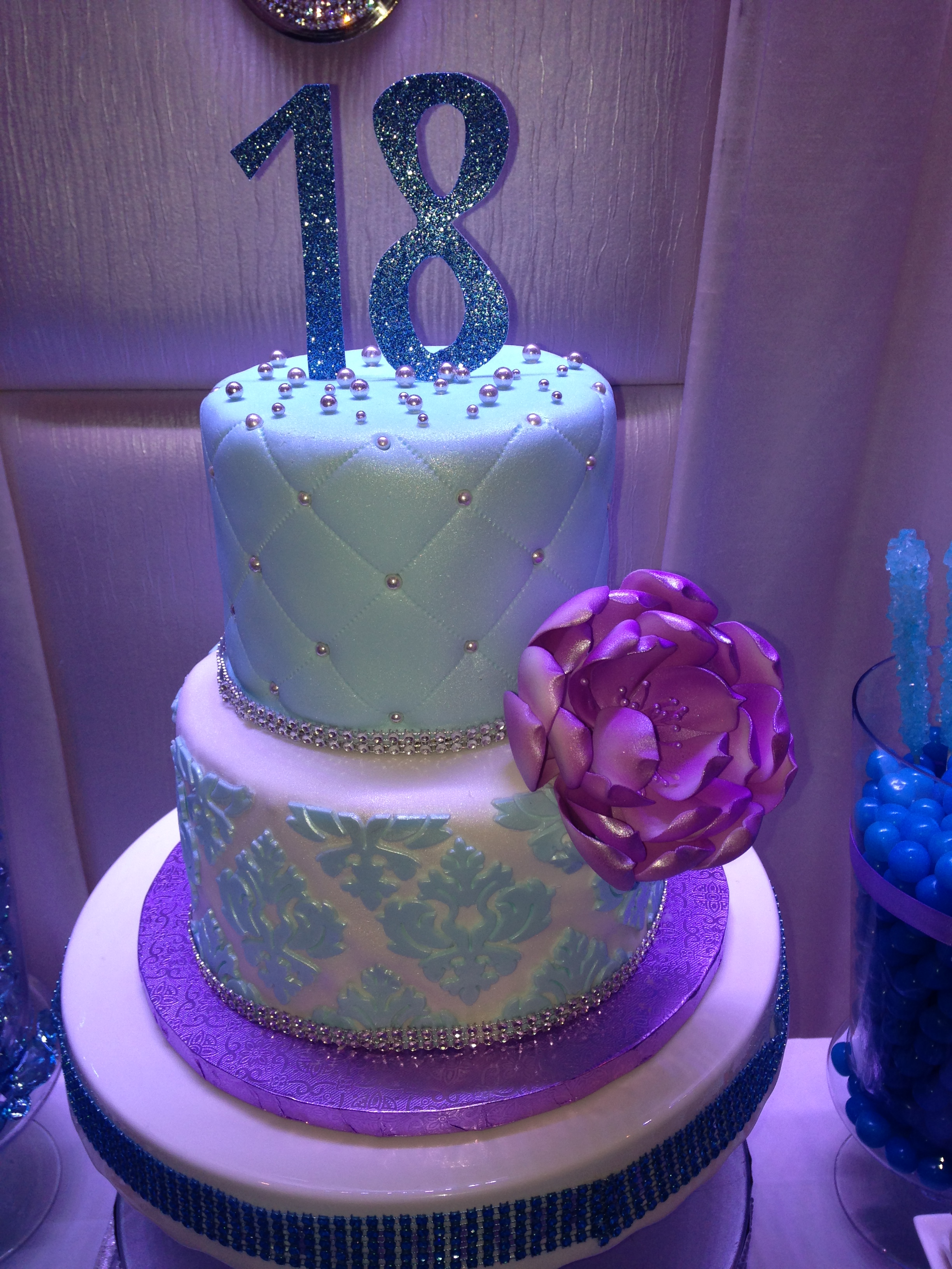 Blue and Orchid Damask Cake