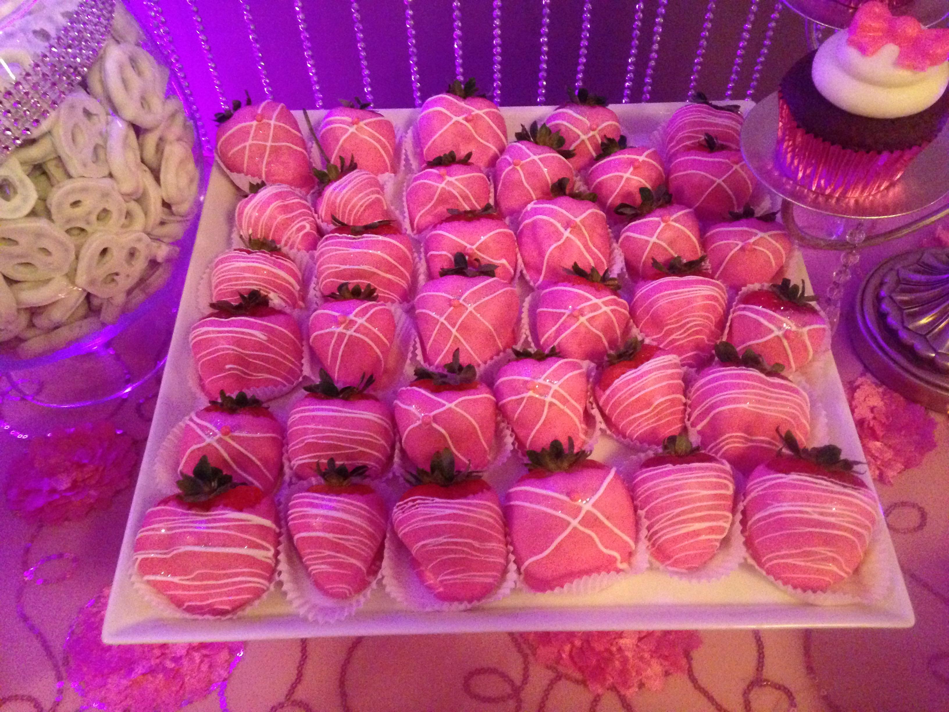 Pink Choco Covered Strawberries
