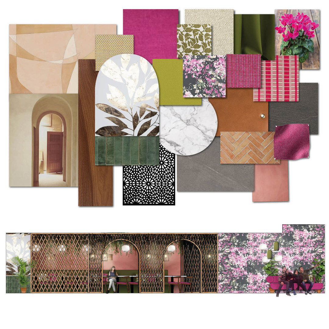 Hospitality FFE moodboard and rendered elevation