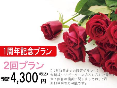 1周年記念プランが登場!!