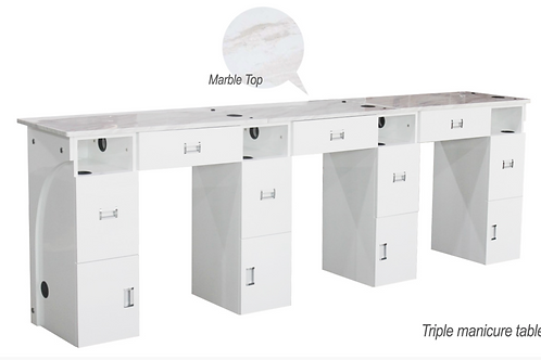 Triple Manicure Table Marble Top