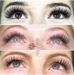 3 styles of eyelash extension