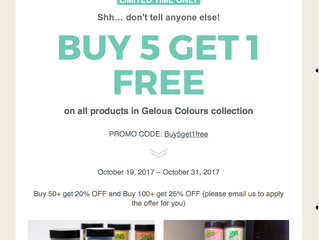 Our Buy5get1 free Gelous colour promotion is back!