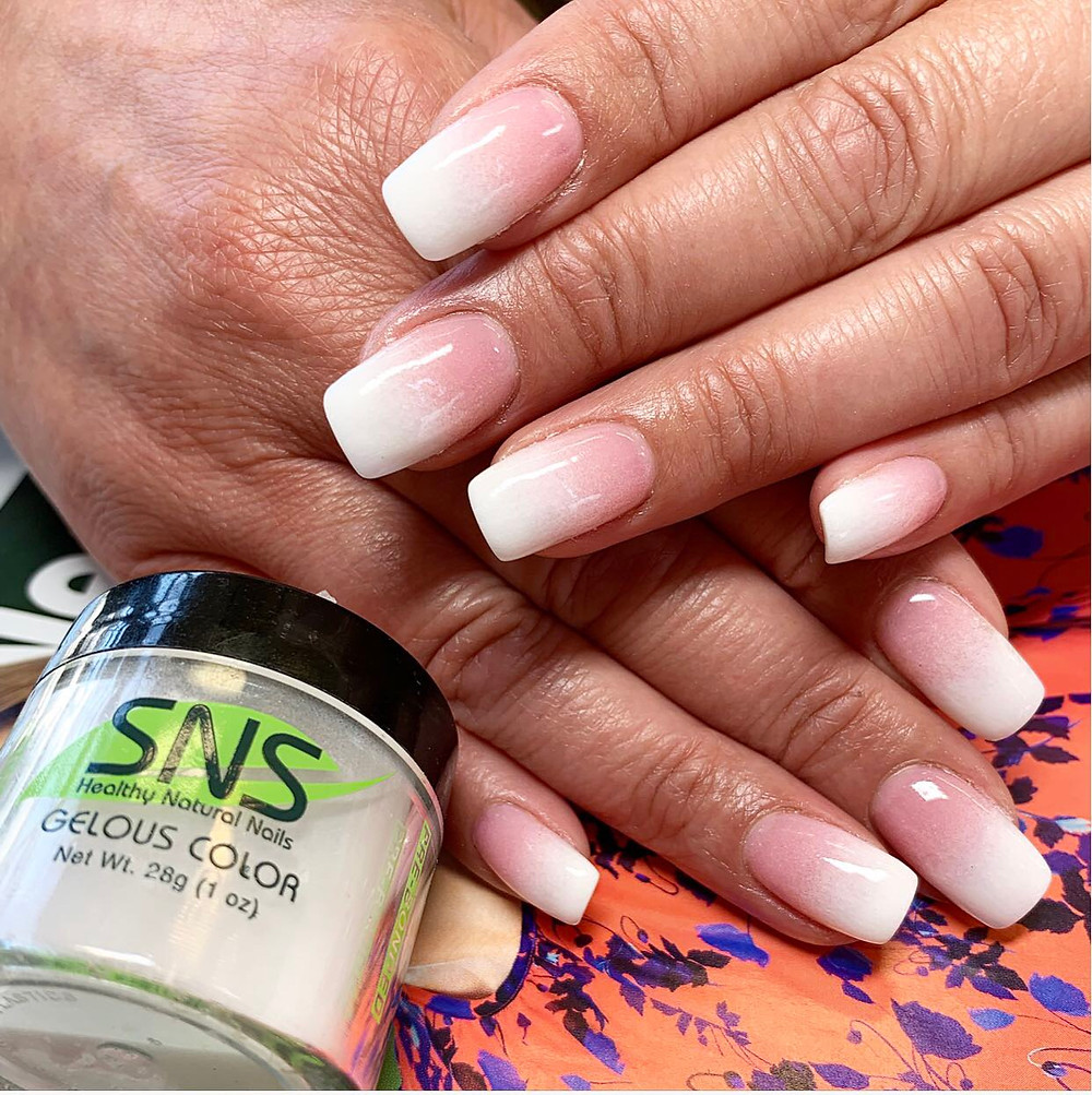 SNS Pink & White Nails