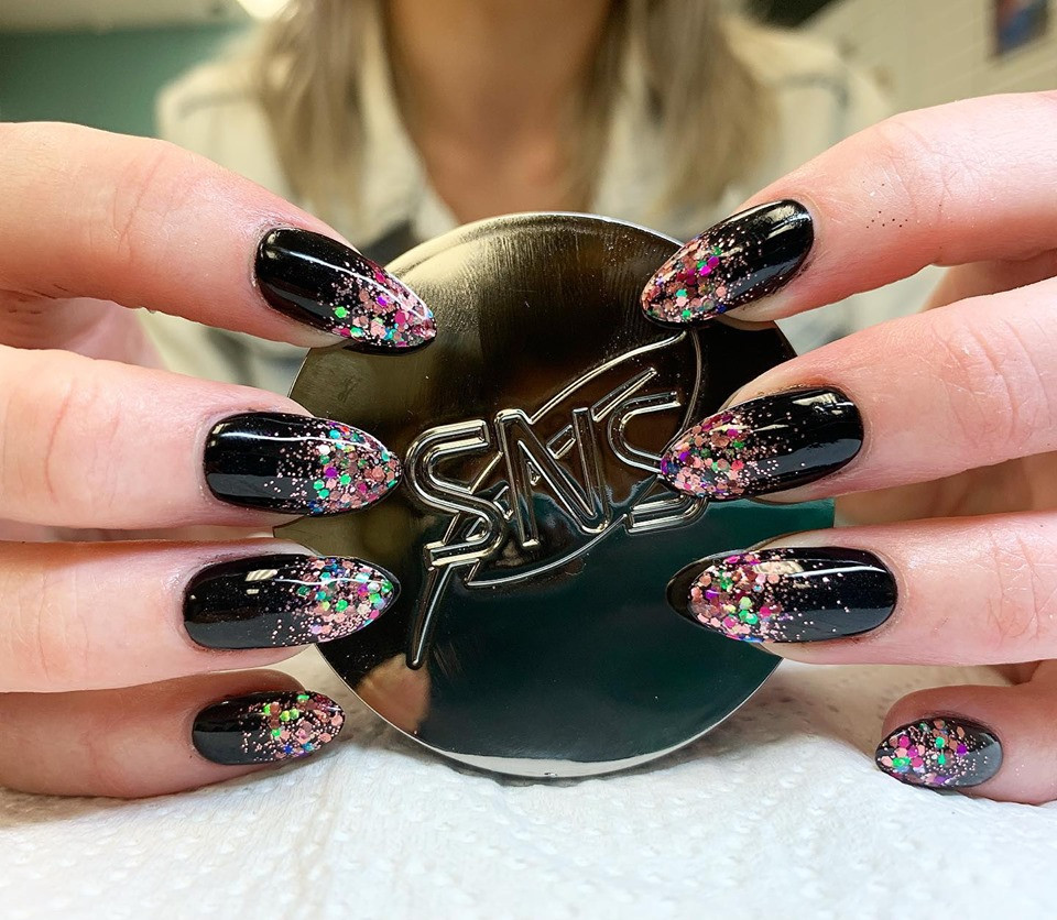 SNS Nails with glitter