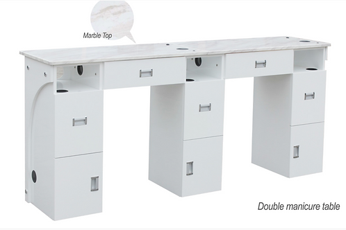 Double Manicure Table Marble Top