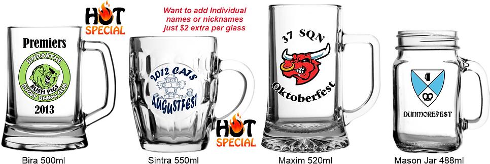 Custom printed Beer mugs from 488ml to 550ml