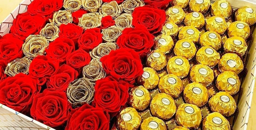 Gold rose ferrero box (medium)