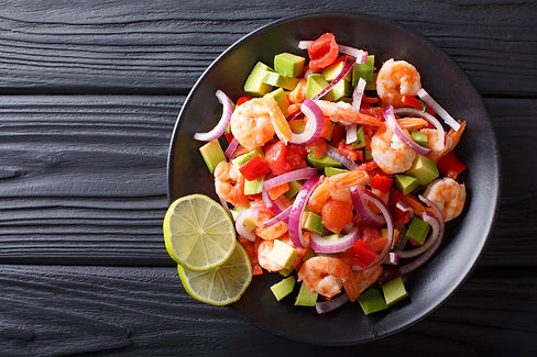 Delicious ceviche of shrimp with vegetab