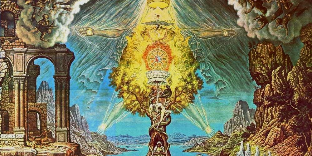 Visionary Gnostic Image of Cross and Pentagram Symbolic of Illumination