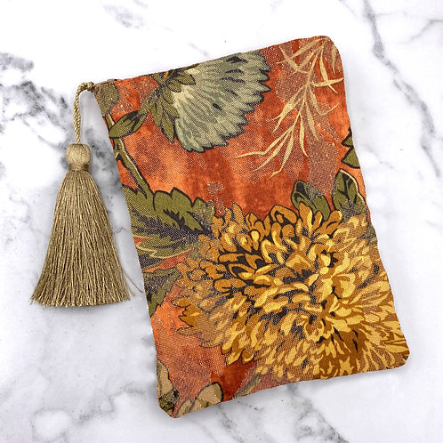 Gold and Copper Mum Floral Tarot Bag- Silk Lined, 5x7