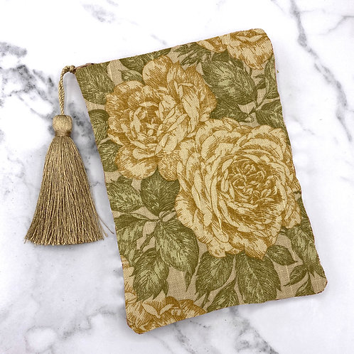 Yellow Roses an Green Leaves Tarot Bag- Silk Lined, 5x7
