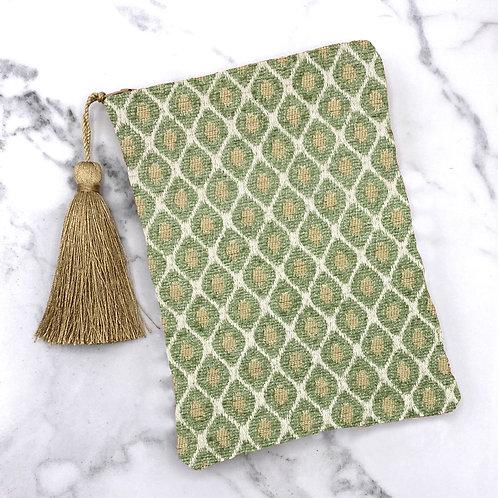 Mint Green and Gold Diamond Tarot Bag- Silk Lined, 5x7