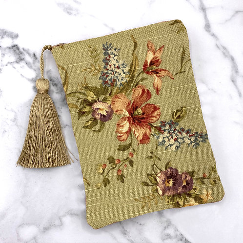Moss Green and Floral Tarot Bag- Silk Lined, 5x7