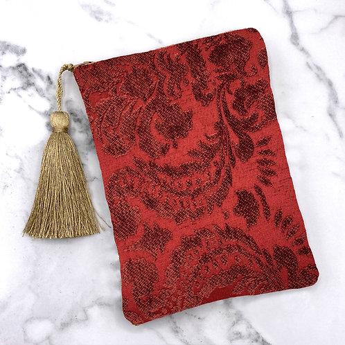 Deep Red Textured Brocade Damask Tarot Bag- Silk Lined, 5x7