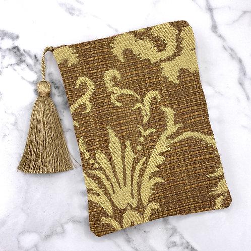 Brown and Oatmeal Woven Damask Tarot Bag- Silk Lined, 5x7