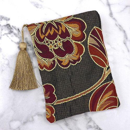 Burgundy and Black Embroidered Floral Tarot Bag- Silk Lined, 5x7