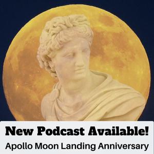 Greek god Apollo in front of full, golden moon