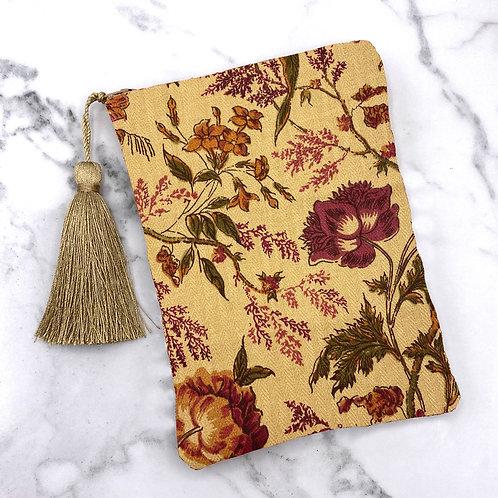 Tan and Deep Wine Floral Tarot Bag- Silk Lined, 5x7