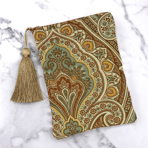 Teal Gold and Brown Damask Slik Lined Tarot Bag- Silk Lined 5x7