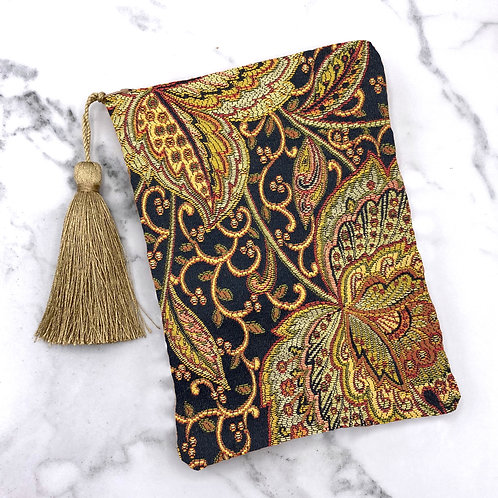 Black, Gold and Green Embroidered Silk Lined Tarot Bag- Silk Lined 5x7