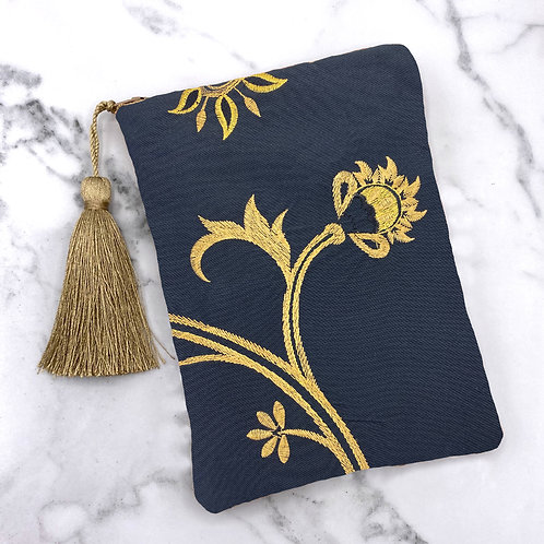 Black and Gold Embroidered Floral Tarot Bag- Silk Lined, 5x7