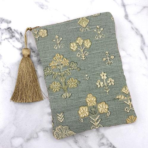 Slate Blue Linen Ikat Floral Tarot Bag- Silk Lined, 5x7