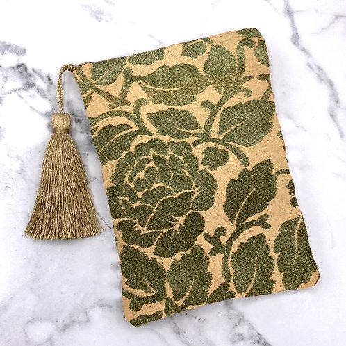Deep Green and Gold Floral Tarot Bag- Silk Lined, 5x7