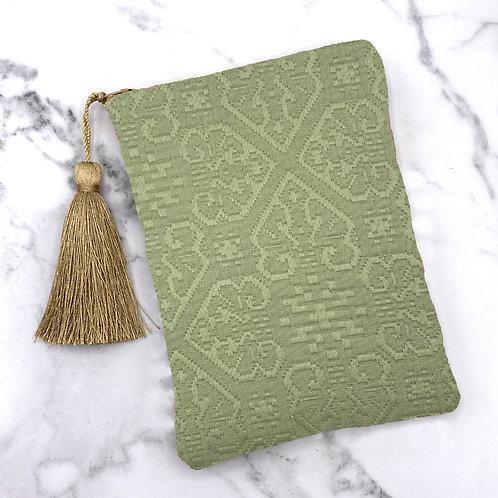 Moss Green Quilted Tarot Bag- Silk Lined, 5x7