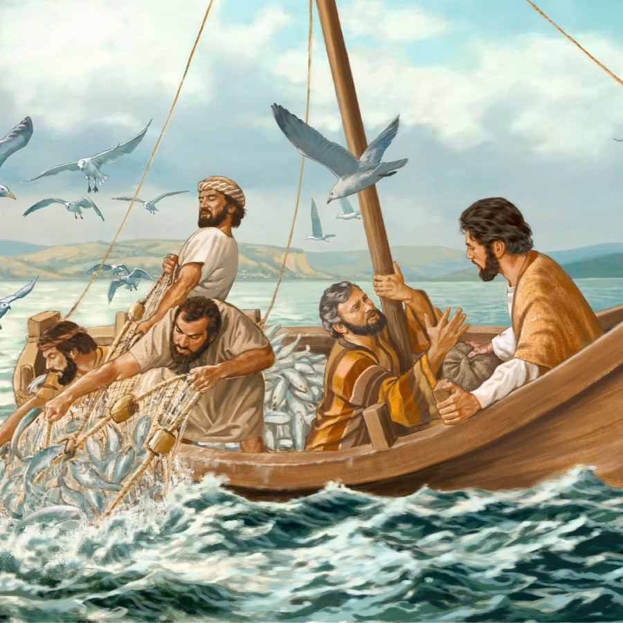Jesus and Disciples Fishing