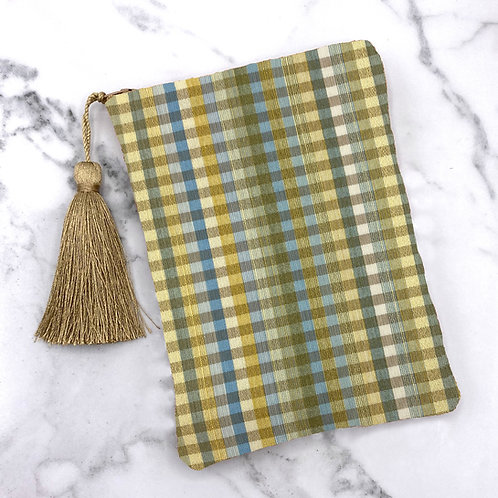 Blue Green and Gold Plaid Gingham Tarot Bag- Silk Lined, 5x7