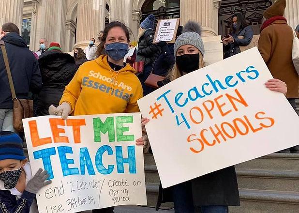 Teachers 4 Open Schools at a protest