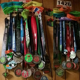 Medals earned by owners Kati and Brian