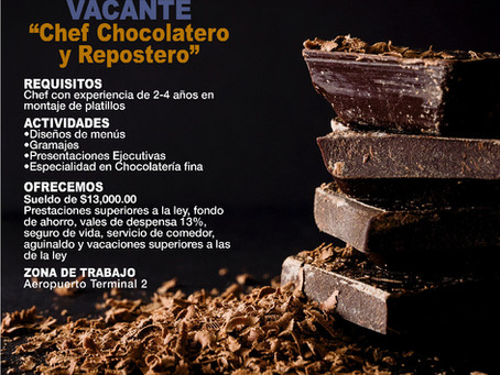 Buscamos Chef Chocolatero y Repostero