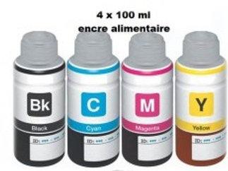 Encre alimentaire 4x100ml ( cyan / Magenta / Yellow / Black )
