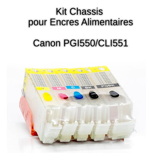 Chassis - Cartouches vides CLI551/PG550 avec puce AUTO RESET